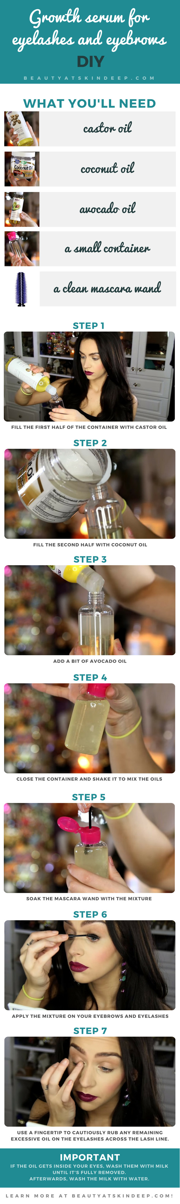 DIY Growth Serum For Eyelashes And Eyebrows - Step by step tutorial