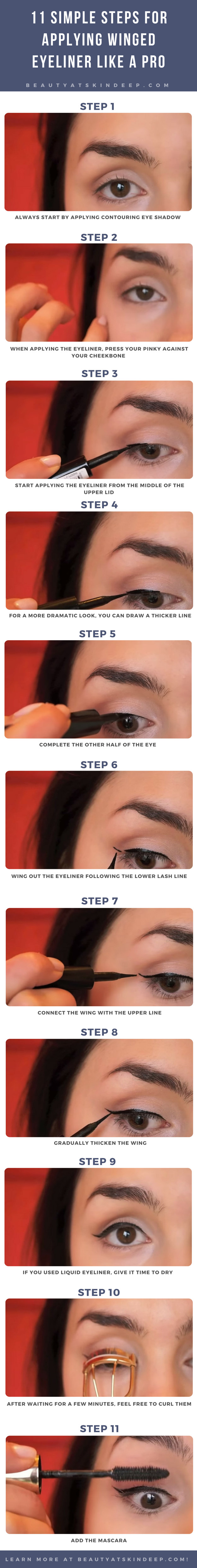 11 Simple Steps For Applying Winged Eyeliner Like A Pro - Step by step