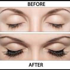 Before and After results of eyelash growth products